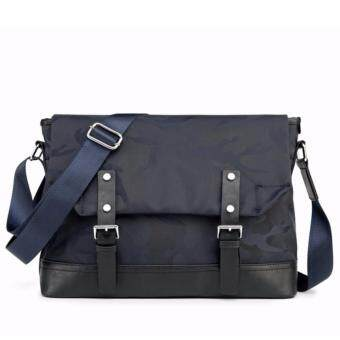 Stmartshop กระเป๋าสะพายข้างผ้าใบกันน้ำผสมหนัง รุ่น 9854(สีน้ำเงิน)