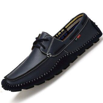 Harga PINSV Genuine Leather Men's Handmade Casual Loafers Boat Shose (Blue)