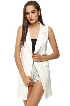 AZONE เสื้อกั๊กแขนกุดคอหญิงสาว Meaneor ยาวกระเป๋าเสื้อแจ็กเก็ตเสื้อสเวตเตอร์ถักด้านหน้า (ขาว)
