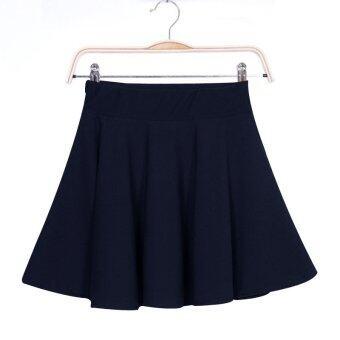 YBC Women Sexy Mini Short Skirts Stretch High Waist Pleated Skirt Dark Blue
