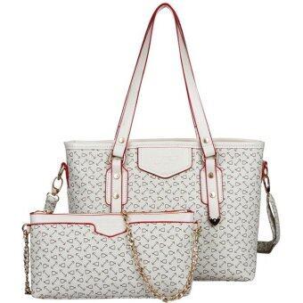 RichCoco กระเป๋าแฟชั่นเกาหลี + กระเป๋าสะพายข้าง เซ็ต 2 ใบ(สีขาว)
