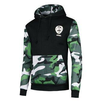 เสื้อกันหนาวมีฮู้ดปักรั้วขนนักกีฬาชุดทหารลายพรางวิ่งสีดำ/เขียวเข้ม