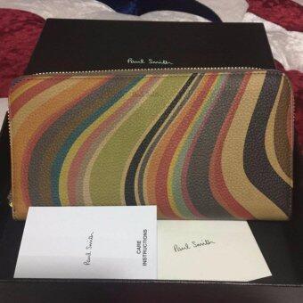 กระเป๋าสตางค์ผู้หญิงใบยาว Paul smith ลายซิคเนเจอร์