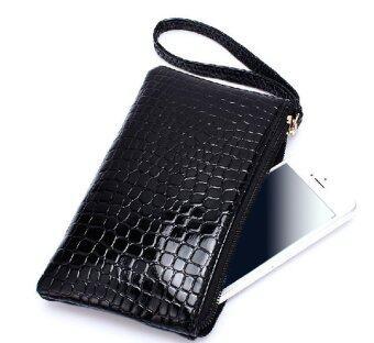 กระเป๋าสะพายหนัง Pu ผู้หญิงแกล้ง ๆ ซิปกระเป๋าสะพายกระเป๋าถือรองเท้าไม้สีดำ