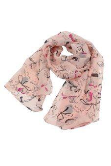 Sanwood พันผ้าพันคอชีฟองลิปสติกของผู้หญิงห่มผ้าคลุมไหล่ผ้าพันคอผ้าคลุมไหล่สีชมพู