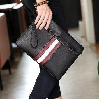 คนเกาหลีกระเป๋าถือแฟชั่นชายคว้ากระเป๋าคลัตช์ไฟล์ส่งกระเป๋าสะพายไหล่เดี่ยวธุรกิจสันทนาการ-สีดำ
