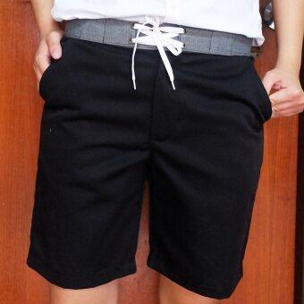 Play Hard กางเกงขาสั้น ลำลอง สีดำ ขอบสีเทา