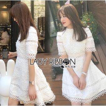 Elisa Thailand เสื้อผ้าแฟชั่นสไตล์เกาหลี Lady Ribbon Lady Caitlyn Casual Chic Lace and Cotton Embroidered Dress