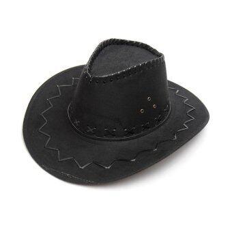 เพศชาย/หญิงสวมหมวกปีกแบบคาวบอยตะวันตกน้ำครีมกันแดดหมวกอัศวินสีดำ