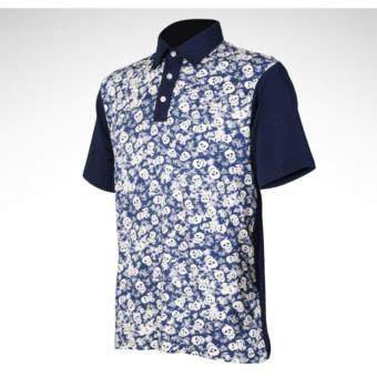 EXCEED GOLF MEN SHIRT เสื้อกอล์ฟสำหรับสุภาพบุรุษ PGM ลายกระโหลกสีน้ำเงิน YF002 NAVY BLUE COLOUR