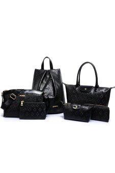 RichCoco กระเป๋าแฟชั่นเกาหลี + กระเป๋าสตางค์ผู้หญิง + กระเป๋าสะพายข้าง + กระเป๋าเป้ + กระเป๋าถือ + กระเป๋าสะพาย เซ็ต 6 ใบ (สีดำ)