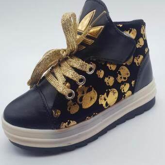 Alice Shoe รองเท้าผ้าใบ แฟชั่นเด็กผู้ชาย และ เด็กผู้หญิง รุ่น SKH037-BK(สีดำ)