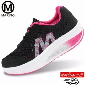 Marino รองเท้าผ้าใบ รองเท้าเพิ่มความสูงสำหรับผู้หญิง No.A013- Black / Pink