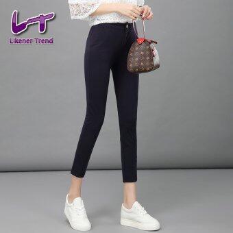 Likener Trend กระโดดสูงหญิงสูทกางเกงรัดข้อเท้ายาว ๆ ผอมกางเกงกางเกงดินสอสำหรับสตรี (สีดำ)