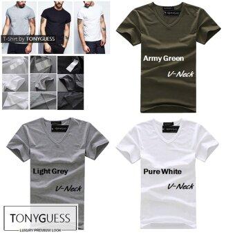 TONYGUESS T-Shirt + เซ็ตสุดคุ้ม 3 ตัว!! + Cotton+Spandex เสื้อยืดคลาสสิค สีดิบโคตรเท่ห์ (สีเทาอ่อน+สีขาว+สีเขียวทหาร คอวี)