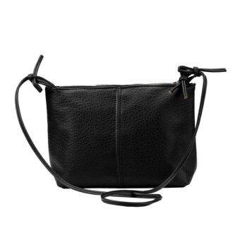 กระเป๋าสะพายสตรีกระเป๋าหนังเทียมกระเป๋าถือสาส์นตายสีดำ-ระหว่างประเทศ