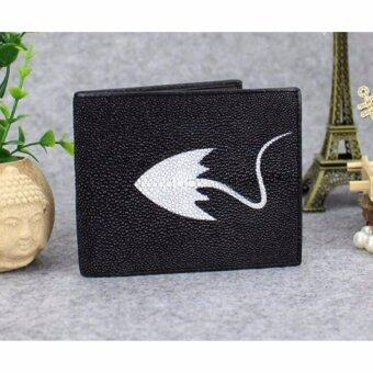 SN Collection กระเป๋าสตางค์หนังแท้ แบบ 2 พับ หนังปลากระเบน รุ่น NE026-1 สีดำ
