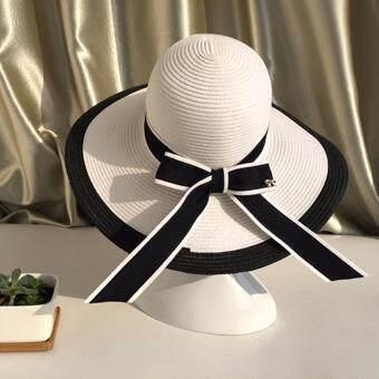 KPshop หมวกแฟชั่น หมวกมีปีก หมวกเที่ยวทะเล รุ่น LH-012 (สีขาว/ดำ)