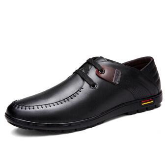 คนทำธุรกิจรองเท้าแฟชั่นแต่งตัว ShoesLeather คลาสสิก สีดำ