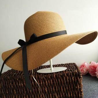 KPshop หมวกแฟชั่น หมวกมีปีก หมวกเที่ยวทะเล รุ่น LH-011 (สีน้ำตาล)