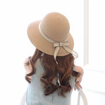 KPshop หมวกแฟชั่น หมวกมีปีก หมวกเที่ยวทะเล รุ่น LH-018 (สีน้ำตาล)
