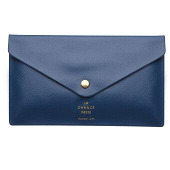 กระเป๋าเงินสตรีสตรีกระเป๋าถือซองคืนกระเป๋าสตางค์คลัตช์ปุ่มร้อนตายน้ำเงิน