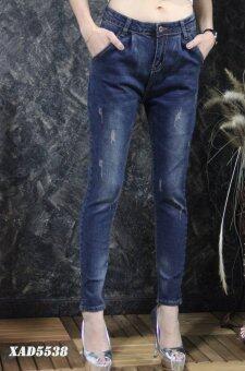 Platinum Fashion กางเกงยีนส์ขายาวเอวสูง ทรงสกินนี่ แต่งขาด รุ่นXAD5538