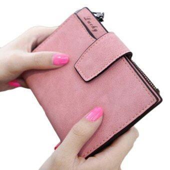 สตรีกระเป๋าสตางค์หนังสีเมจิกพับครึ่งมินิที่เก็บบัตรเงินกระเป๋าสตางค์สีชมพู