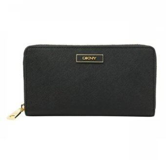 Harga DKNY Saffiano Leather Zip Around Wallet (Black)