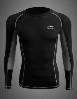 Spandex เสื้อรัดกล้ามเนื้อแขนยาวตัดต่อ รุ่น S003 (สีดำ/ตะเข็บเทา)