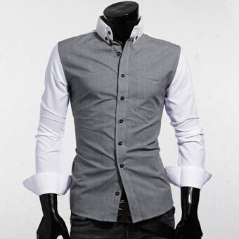 ความยาวแขนเสื้อลำลอง PODOM บุรุษผอมบางแต่งตัวทันสมัยสวมเสื้อนอกทรงขาว-ในประเทศ