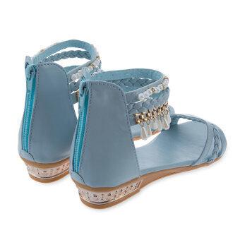 รองเท้าแตะส้นสุภาพสตรีโบฮีเมียร้อนสู้สานขุดลูกปัด (ฟ้าอ่อน)