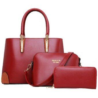 RichCoco (27) กระเป๋าแฟชั่นเกาหลี + กระเป๋าสตางค์ผู้หญิง + กระเป๋าสะพายข้าง เซ็ต 3 ใบ(สีแดงเลือดหมู)