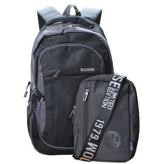 Peimm Modello Set Backpack & Shoulder Bag WH.กระเป๋าเป้สะพายหลัง กันน้ำ+กระเป๋าสะพายพาดลำตัว กระเป๋าคาดอก สไตส์เกาหลี (สีดำ)