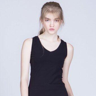 Police Sister เสื้อยืด แขนกุด คอวี สีดำ