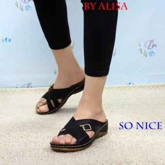 Alisa Shoes รองเท้าหนังเพื่อสุขภาพ รุ่น RM8889-52 Black