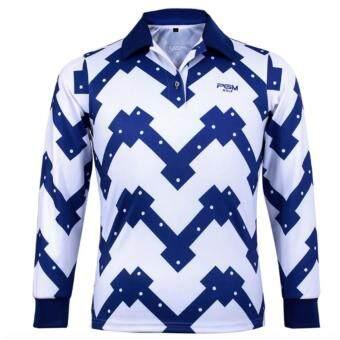 EXCEED GOLF MEN SHIRT WHITE-BLUE COLOUR เสื้อกอล์ฟสุภาพบุรุษแขนยาว PGM สีขาวน้ำเงิน (YF036)