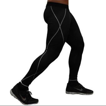 ชายกางเกงขายาววิ่งกีฬาสีดำ