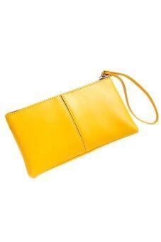 Sanwood สตรีกระเป๋าถือกระเป๋าสตางค์กระเป๋าถือคลัตช์สองชั้นสีเหลือง