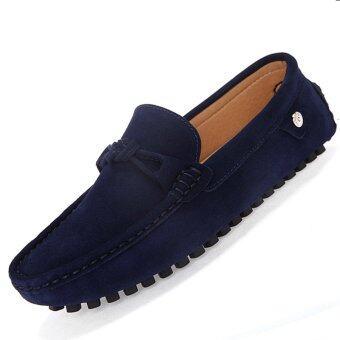 PINSV รองเท้าหนังลำลอง Loafers แฟลตคนออกแบบ (กรมท่า)
