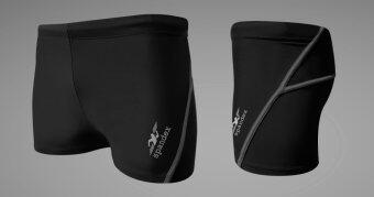Spandex กางเกงว่ายน้ำขาสั้น SW001 (สีดำ/ตะเข็บเทา)