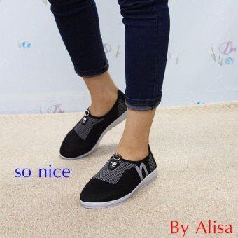 Alisa Shoes รองเท้าผ้าใบแฟชั่น รุ่น 99Q041 Black