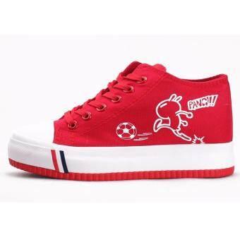 Korean version Canvas shoes ผ้าใบสีแดง รองเท้าผ้าใบผู้หญิง รองเท้าผ้าใบ เกาหลี รุ่น(Red)