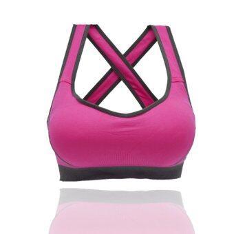 Like Sport bra ชุดชั้นใน สปอร์ตบรา แบบสายไขว้ด้านหลัง ชุดชั้นในสตรี(สีชมพู)