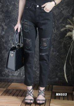 Platinum Fashion กางเกงยีนส์ขายาวเอวสูง ทรงบอย แต่งขาด รุ่นMS553