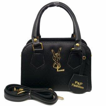 P&P Fashion Women Bag YL กระเป๋าถือแฟชั่นพร้อมสะพายข้างขายดี (สีดำ)
