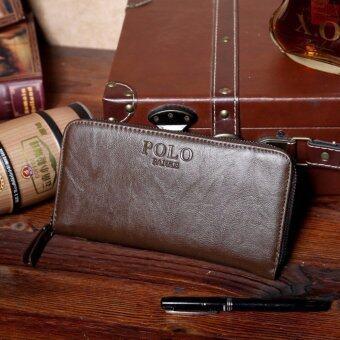 TOP CLASS กระเป๋าใส่เช็ค กระเป๋าเงินใบยาว รุ่น POLO FANKE (สีกาแฟ)