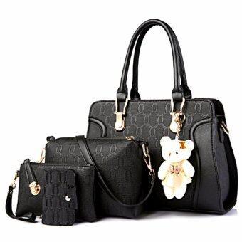 Bag กระเป๋าสะพายข้างสภาพสตรี เซ็ด 4 ใบ รุ่น new fashion 2017 (สีดำ)