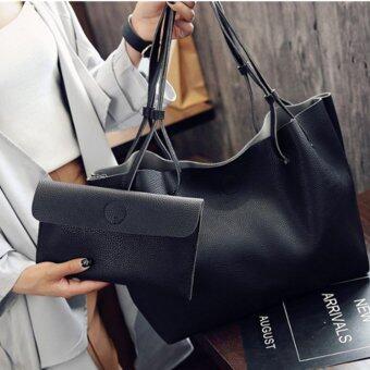 Fire Liions กระเป๋าสะพายแฟชั่นเกาหลี กระเป๋าสตางค์ผู้หญิง กระเป๋าสะพายข้าง เซ็ต2ใบ F-10011(Black)