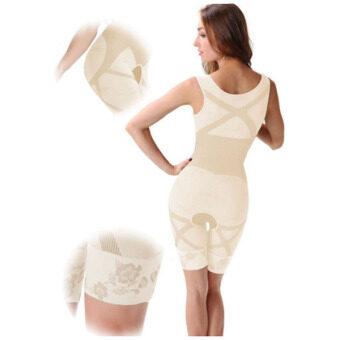 ชุดกระชับสัดส่วน Bamboo Slimming Suit ชุดกระชับสัดส่วนเต็มตัว ชุดเสริมบุคคลิก (สำหรับผู้ที่มีน้ำหนักไม่เกิน 80 Kg) - สีครีม